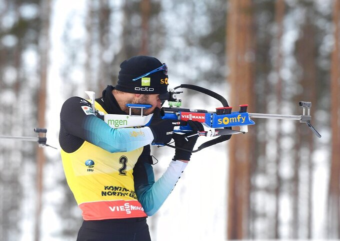 Martin Fourcade of France competes during the men's 12,5 km Pursuit competition, at the IBU Biathlon World Cup in Kontiolahti, Finland, Saturday March 14, 2020.  Fourcade retired from the sport on Saturday exactly ten years after his first World Cup victory in Kontiolahti. (Jussi Nukari/Lehtikuva via AP)