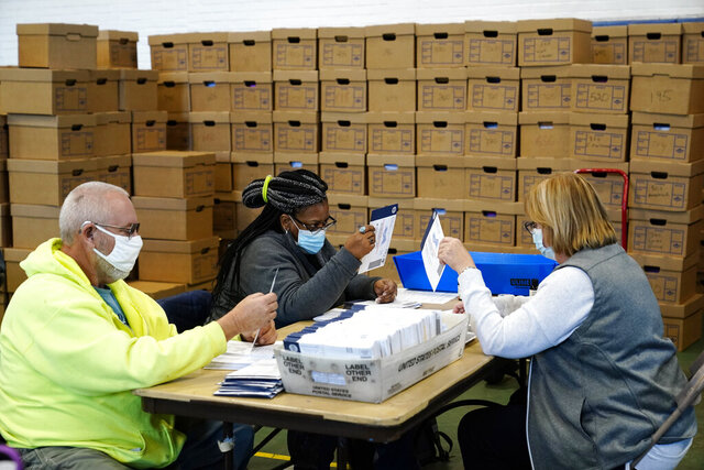 Chester County, Pa., election workers process mail-in and absentee ballots for the 2020 general election in the United States at West Chester University, Wednesday, Nov. 4, 2020, in West Chester., Pa. (AP Photo/Matt Slocum)