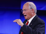 Former Mississippi Supreme Court Chief Justice and Republican gubernatorial candidate Bill Waller Jr., answers a question during a GOP gubernatorial runoff debate against Lt. Gov. Tate Reeves, unseen, in Jackson, Miss., Wednesday, Aug. 21, 2019. (AP Photo/Rogelio V. Solis)