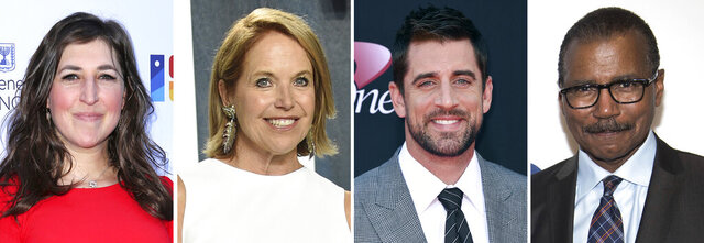 """In this combination photo, Mayim Bialik, from left, attends the Israeli Consulate Celebration of the 70th Anniversary of Israel on June 10, 2018, in Los Angeles, Katie Couric arrives at the Vanity Fair Oscar Party on Feb. 9, 2020, in Beverly Hills, Calif., Aaron Rodgers arrives at the ESPYS on July 12, 2017, in Los Angeles and Bill Whitaker attends the CBS Upfront on May 15, 2019, in New York. """"Jeopardy"""" announced Wednesday, Jan. 13, 2021, that Couric will become the first woman ever to host the show and will be among those guest hosting on an interim basis along with NFL quarterback Rodgers, """"Big Bang Theory"""" Bialik and """"60 Minutes"""" correspondent Whittaker. (AP Photo)"""