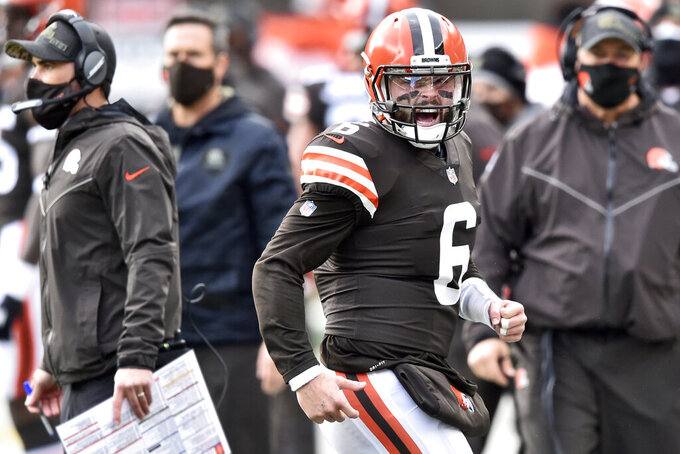 Cleveland Browns quarterback Baker Mayfield (6) reacts during the first half of an NFL football game against the Houston Texans, Sunday, Nov. 15, 2020, in Cleveland. (AP Photo/David Richard)