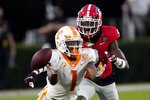Tennessee wide receiver Velus Jones Jr. (1) cannot reach a pass as Georgia defensive back Ameer Speed (9) defends in the second half of an NCAA college football game Saturday, Oct. 10, 2020, in Athens, Ga. (AP Photo/John Bazemore)