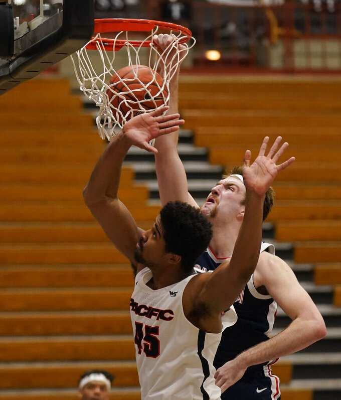 Gonzaga forward Drew Timme, right, dunks next to Pacific's Nigel Shadd (45) during the second half of an NCAA college basketball game in Stockton, Calif., Thursday, Feb. 4, 2021. Gonzaga won 76-58. (AP Photo/Rich Pedroncelli)