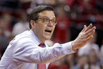 Nebraska coach Tim Miles yells instructions during the second half of an NCAA college basketball game against Iowa in Lincoln, Neb., Sunday, March 10, 2019. (AP Photo/Nati Harnik)