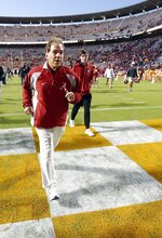 Alabama head coach Nick Saban leaves the field after an NCAA college football game against Tennessee Saturday, Oct. 20, 2018, in Knoxville, Tenn. Alabama won 58-21. (AP Photo/Wade Payne)