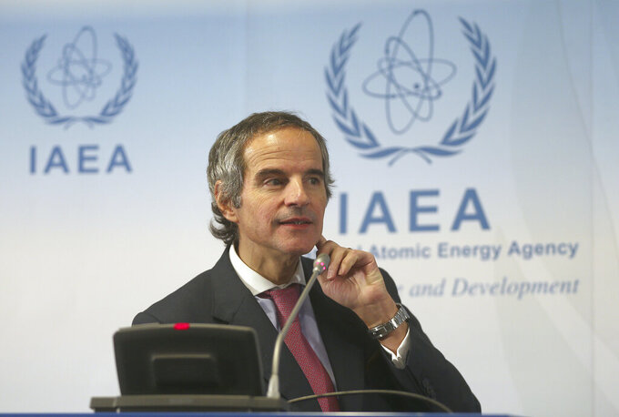 Director General of International Atomic Energy Agency, IAEA, Rafael Mariano Grossi from Argentina, addresses the media during a news conference after a meeting of the IAEA board of governors at the International Center in Vienna, Austria, Monday, March 9, 2020. (AP Photo/Ronald Zak)