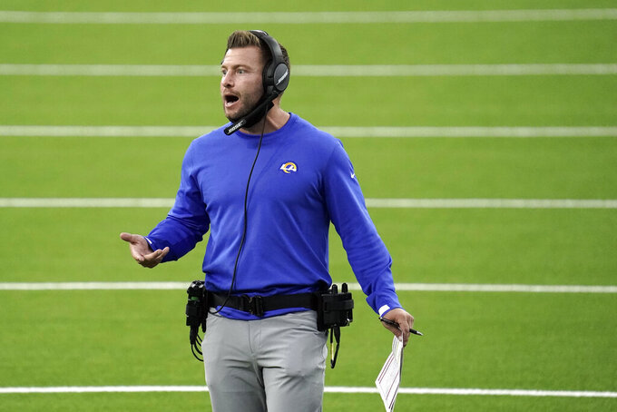 Los Angeles Rams head coach Sean McVay yells out instructions during the first half of an NFL football game against the Dallas Cowboys Sunday, Sept. 13, 2020, in Inglewood, Calif. (AP Photo/Jae C. Hong )