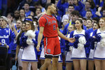 St. John's Julian Champagnie reacts to a call during the first half of an NCAA college basketball game against Seton Hall in Newark, N.J., Sunday, Feb. 23, 2020. (AP Photo/Seth Wenig)