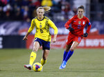 Sweden defender Magdalena Eriksson, left, controls the ball against United States forward Carli Lloyd during the first half of a women's international friendly soccer match in Columbus, Ohio, Thursday, Nov. 7, 2019. (AP Photo/Paul Vernon)
