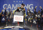Alex Bowman celebrates after winning the NASCAR Cup Series auto race at Chicagoland Speedway in Joliet, Ill., Sunday, June 30, 2019. (AP Photo/Nam Y. Huh)