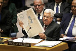 Palestinian President Mahmoud Abbas speaks during a Security Council meeting at United Nations headquarters, Tuesday, Feb. 11, 2020. (AP Photo/Seth Wenig)