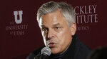 """Republican ex-Russia ambassador Jon Huntsman Jr. speaks at the Hinckley Institute of Politics Thursday, Dec. 5, 2019, in Salt Lake City. President Donald Trump's former ambassador to Russia said Vladimir Putin is likely """"joyful"""" about the renewed prominence of a debunked conspiracy theory that Ukraine was responsible for meddling in the 2016 election, which experts consider Russian disinformation. (AP Photo/Rick Bowmer)"""