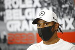 Mercedes driver Lewis Hamilton of Britain participates in a media conference prior to the Formula One Grand Prix at the Spa-Francorchamps racetrack in Spa, Belgium Thursday, Aug. 27, 2020. (Florent Gooden, Pool via AP)