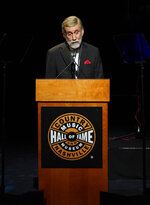 Ray Stevens speaks after being inducted into the Country Music Hall of Fame during the 2019 Medallion Ceremony at the Country Music Hall of Fame and Museum on Sunday, Oct. 20, 2019 in Nashville, Tenn. (Photo by Sanford Myers/Invision/AP)