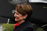 FILE - In this July 23, 2018 file photo shows Lockheed Martin president and CEO Marilyn Hewson at the White House in Washington.  The typical pay package for CEOs at the biggest U.S. companies topped $12.3 million in 2019, and the gap between the boss and their workforces widened further, according to AP's annual survey of executive compensation.     (AP Photo/Evan Vucci, File )