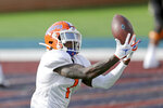 FILE - In this Jan. 27, 2021, file photo, American Team wide receiver Kadarius Toney, of Florida, catches a pass during practice for the Senior Bowl NCAA college football game in Mobile, Ala. Toney was selected in the first round of the 2021 NFL football draft by the New York Giants. (AP Photo/Rusty Costanza, File)