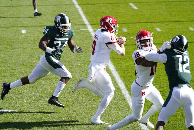 Rutgers quarterback Noah Vedral (0) runs down the sidelines for a 24-yard touchdown during the first half of an NCAA college football game against Michigan State, Saturday, Oct. 24, 2020, in East Lansing, Mich. (AP Photo/Carlos Osorio)