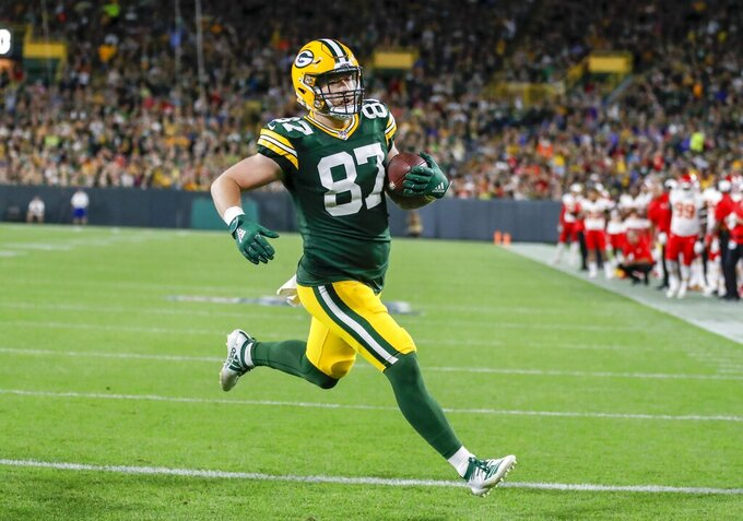 Green Bay Packers' Jace Sternberger catches a touchdown pass during the first half of a preseason NFL football game against the Kansas City Chiefs Thursday, Aug. 29, 2019, in Green Bay, Wis. (AP Photo/Matt Ludtke)