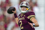Texas State quarterback Brady McBride (2) looks for a receiver against Southern Methodist during an NCAA football game on Saturday, Sept. 5, 2020 in San Marcos, Texas. McBride is coming off a career-best performance in which he threw 260 yards at South Alabama. Texas State plays at BYU on Saturday, Oct. 24. (AP Photo/Stephen Spillman)