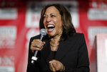 Democratic presidential candidate Sen. Kamala Harris, D-Calif., reacts as she speaks at a town hall event at the Culinary Workers Union, Friday, Nov. 8, 2019, in Las Vegas. (AP Photo/John Locher)