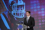 Virginia Tech's Dalton Keene speaks during the Atlantic Coast Conference NCAA college football media days in Charlotte, N.C., Thursday, July 18, 2019. (AP Photo/Chuck Burton)