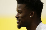 Miami Heat guard Jimmy Butler speaks during an NBA basketball news conference, Friday, Sept. 27, 2019, in Miami. Butler spoke publicly for the first time since the July trade that brought him to South Florida as the new face of the franchise. (AP Photo/Lynne Sladky)