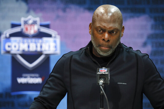 Los Angeles Chargers head coach Anthony Lynn speaks during a press conference at the NFL football scouting combine in Indianapolis, Tuesday, Feb. 25, 2020. (AP Photo/Charlie Neibergall)