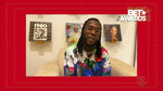 In this video grab issued Sunday, June 28, 2020, by BET, Burna Boy accepts the award for best international act during the BET Awards. (BET via AP)