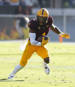 Arizona State wide receiver N'Keal Harry runs for a touchdown against Utah in the second half during an NCAA college football game against Utah, Saturday, Nov. 3, 2018, in Tempe, Ariz. (AP Photo/Rick Scuteri)