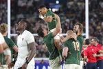 South Africa players celebrate after winning the Rugby World Cup final against England at International Yokohama Stadium in Yokohama, Japan, Saturday, Nov. 2, 2019. (AP Photo/Eugene Hoshiko)