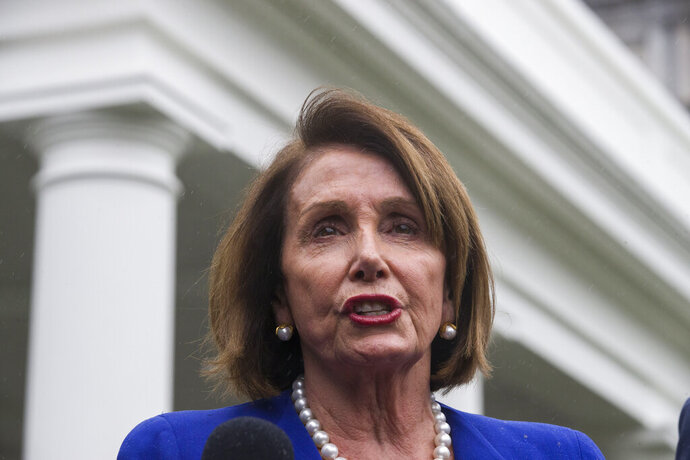 House Speaker Nancy Pelosi of Calif., speaks with reporters after a meeting with President Donald Trump at the White House, Wednesday, Oct. 16, 2019, in Washington. (AP Photo/Alex Brandon)