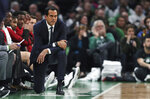 Miami Heat head coach Erik Spoelstra watches his players during the first quarter of an NBA basketball game against the Boston Celtics in Boston, Monday, April 1, 2019. (AP Photo/Charles Krupa)