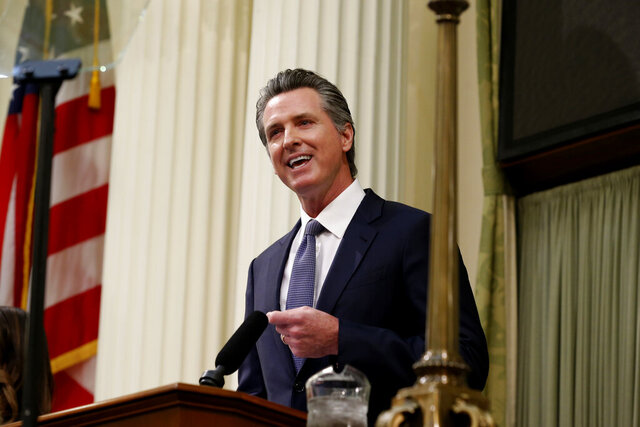 California Gov. Gavin Newsom delivers his State of the State address to a joint session of the legislature at the Capitol, Wednesday, Feb. 19, 2020, in Sacramento, Calif. (AP Photo/Rich Pedroncelli)