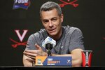 Virginia head coach Tony Bennett answers questions after a practice session for the semifinals of the Final Four NCAA college basketball tournament, Thursday, April 4, 2019, in Minneapolis. (AP Photo/Matt York)