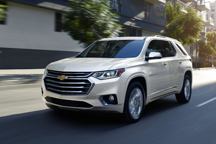 This undated photo provided by Chevrolet shows the Traverse SUV. The Chevrolet Traverse offers a roomy cabin and the largest cargo space in its class. (General Motors via AP)