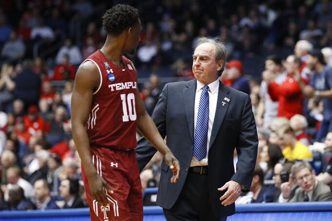 Temple head coach Fran Dunphy, right, reacts alongside Shizz Alston Jr. (10) during the second half of a First Four game of the NCAA college basketball tournament against Belmont, Tuesday, March 19, 2019, in Dayton, Ohio. (AP Photo/John Minchillo)
