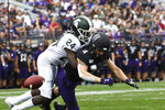 Michigan State cornerback Tre Person (24) breaks up a pass to Northwestern wide receiver Berkeley Holman (4) during the first half of an NCAA college football game, Saturday, Sept. 21, 2019, in Evanston, Ill. (AP Photo/David Banks)
