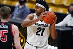 Colorado forward Evan Battey, right, looks to pass the ball as Utah center Branden Carlson defends in the second half of an NCAA college basketball game Saturday, Jan. 30, 2021, in Boulder, Colo. (AP Photo/David Zalubowski)