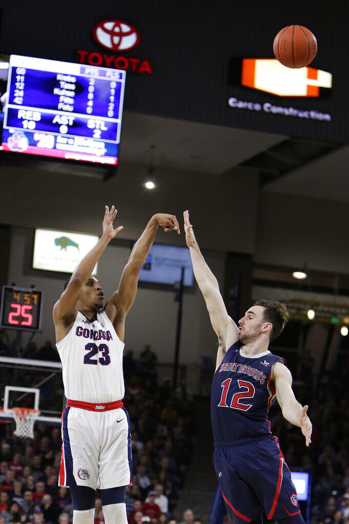 Gonzaga guard Zach Norvell Jr. (23) shoots over Saint Mary's guard Tommy Kuhse (12) during the first half of an NCAA college basketball game in Spokane, Wash., Saturday, Feb. 9, 2019. (AP Photo/Young Kwak)