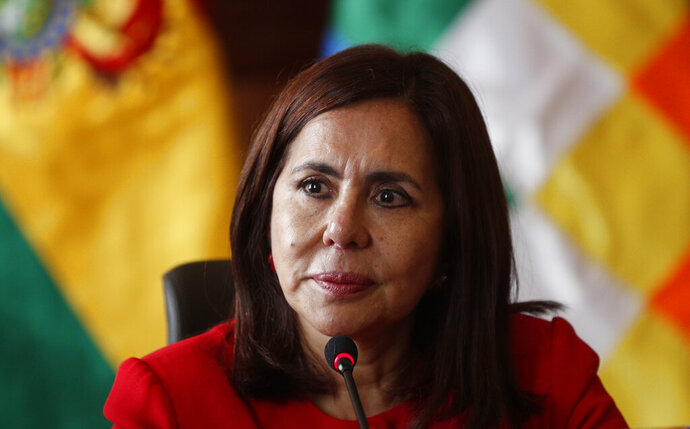 Bolivia's Foreign Minister Karen Longaric attends a press conference introducing the newly appointed ambassador to the United States, at the Foreign Ministry in La Paz, Bolivia, Thursday, Nov. 28, 2019. (AP Photo/Juan Karita)