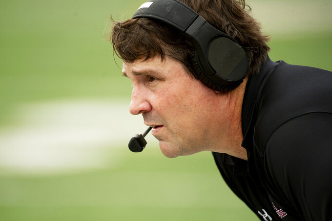 South Carolina head coach Will Muschamp watches his team play during the first quarter of an NCAA college football game against Missouri, Saturday, Sept. 21, 2019, in Columbia, Mo. Missouri won the game 34-14. (AP Photo/L.G. Patterson)