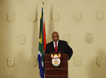 South African President Jacob Zuma addresses the nation and press at the government's Union Buildings in Pretoria, South Africa, Wednesday, Feb. 14, 2018.  South African President Jacob Zuma broke his silence Wednesday to disagree with the ruling party's order to resign and say he'd done nothing wrong, setting the stage for his almost certain ouster in a parliamentary vote on Thursday. (AP Photo/Themba Hadebe)