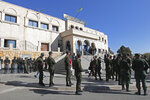 Algerian soldiers guard the Bir Mourad Rais courthouse in Algiers, Monday, Nov.4, 2019 during a hand-over ceremony of a new prosecutor. Judges and prosecutors began an open-ended strike last Wednesday to demand the independence of the judiciary after a massive reshuffle that has affected thousands. (AP Photo/Fateh Guidoum)