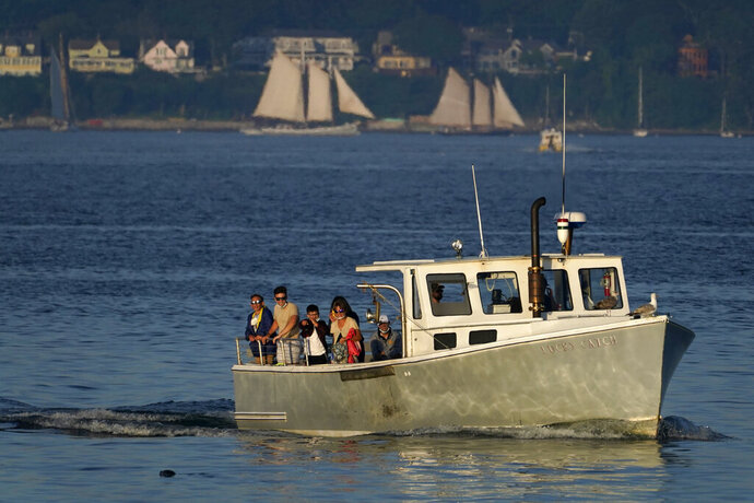 Tourists relax the use of their pandemic masks while gathered to view a seal swimming near their tour boat, Monday, Aug. 10, 2020, off Portland, Maine. The state has one of the lowest number of coronavirus cases in the country. (AP Photo/Robert F. Bukaty)