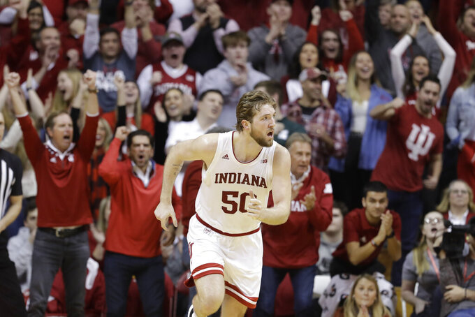 Indiana's Joey Brunk runs back on defense after making a shot late in the second half of an NCAA college basketball game against Michigan State, Thursday, Jan. 23, 2020, in Bloomington, Ind. (AP Photo/Darron Cummings)