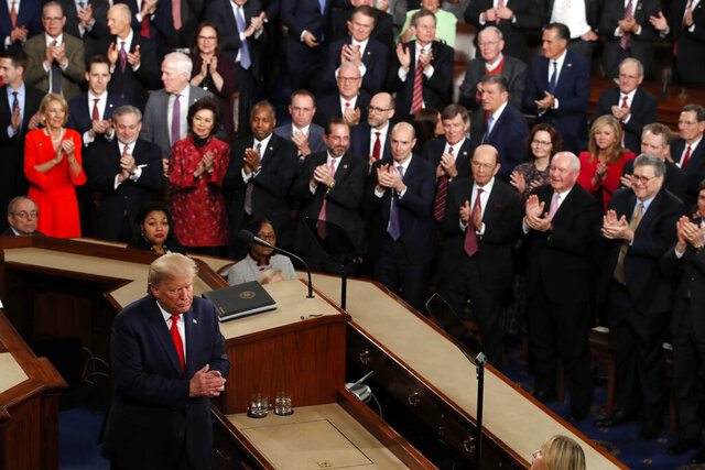President Donald Trump walks from the podium after he delivered his State of the Union address to a joint session of Congress on Capitol Hill in Washington, Tuesday, Feb. 4, 2020. (AP Photo/J. Scott Applewhite)