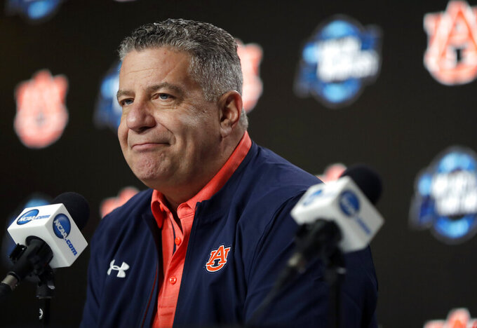 Auburn head coach Bruce Pearl listens to a question during a news conference at the NCAA men's college basketball tournament Thursday, March 28, 2019, in Kansas City, Mo. Auburn plays North Carolina in a Midwest Regional semifinal on Friday. (AP Photo/Jeff Roberson)