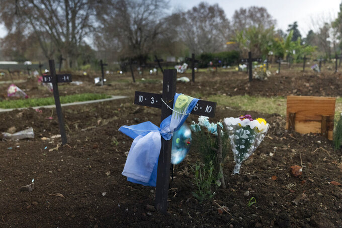 A national flag is wrapped around a cross on a gravesite in the COVID-19 section of the Chacarita cemetery in Buenos Aires, Argentina, Tuesday, July 13, 2021. Argentina is close to reaching 100,000 deaths related to COVID-19. (AP Photo/Victor R. Caivano)