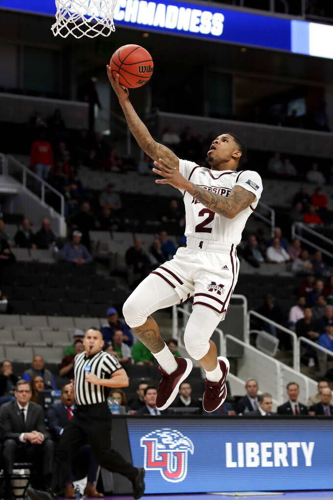 Mississippi State guard Lamar Peters drives to the basket during the first half against Liberty in a first-round game in the NCAA men's college basketball tournament Friday, March 22, 2019, in San Jose, Calif. (AP Photo/Ben Margot)