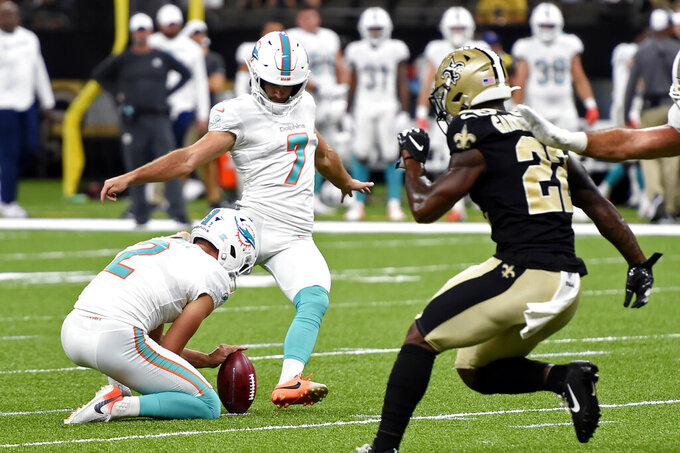 Miami Dolphins kicker Jason Sanders (7) kicks a field goal in the first half of an NFL preseason football game against the New Orleans Saints in New Orleans, Thursday, Aug. 29, 2019. (AP Photo/Bill Feig)